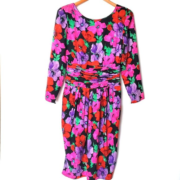 Vintage 80s Dress Maggy London Silk Floral Bright